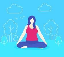yoga, plus grootte vrouw mediteert in park, vector.eps