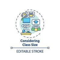 overweegt klasse grootte concept pictogram vector