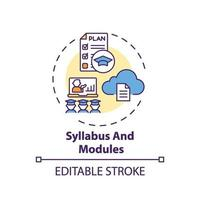 syllabus en modules concept pictogram