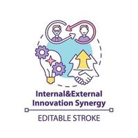 interne en externe innovatie synergie concept pictogram vector