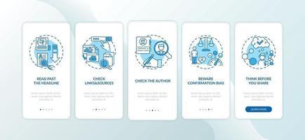 vals nieuws controleren tips onboarding mobiele app-paginascherm met concepten vector