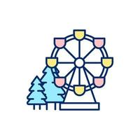 Winter Wonderland attractie RGB-kleur pictogram vector