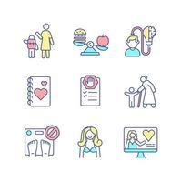 zelfzorg praktijk rgb kleur iconen set vector