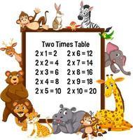twee keer tafel met wilde dieren
