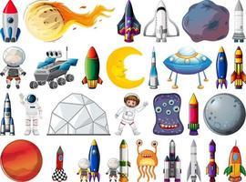 set ruimtevoorwerpen en elementen geïsoleerd op een witte achtergrond