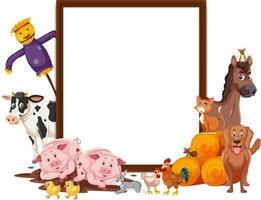 lege banner met veel boerderijdieren