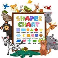vormenkaart op een bord met wilde dieren