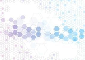 abstracte zeshoekige moleculaire structuren in technische achtergrond en wetenschappelijke stijl. medisch ontwerp. vector illustratie