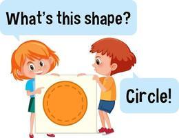 kinderen houden cirkelvorm banner met wat is dit vorm lettertype