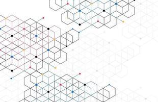 abstracte geometrische dozen patroon punt lijn verbinding achtergrond. moderne technologie met vierkante mazen. geometrisch op witte achtergrond met lijnen. kubus cel. vector illustratie