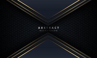 abstracte gouden lijnpijl op zwart met zeshoekig gaasontwerp moderne luxe futuristische technologie vectorillustratie als achtergrond. vector