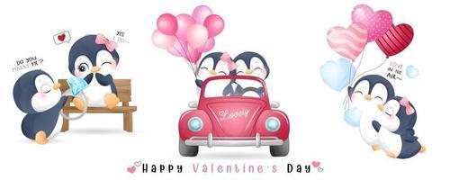 schattige doodle pinguïn voor Valentijnsdag collectie vector