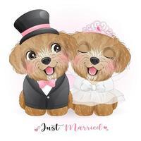 schattige doodle honden met bruiloftskleding voor Valentijnsdag vector