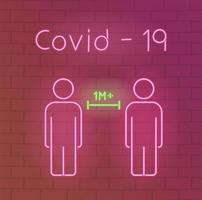 neonlicht met coronaviruspreventiepictogram vector