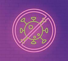 neonlicht met coronaviruspreventiepictogram