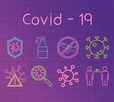 neonlicht met coronaviruspreventie icon set vector