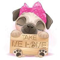 schattige kleine pug met aquarel illustratie