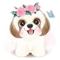 schattige kleine shih tzu met bloemen illustratie