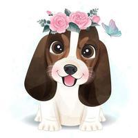 schattige kleine basset hound met bloemen illustratie