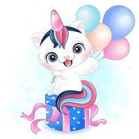 schattige kleine kat met aquarel illustratie