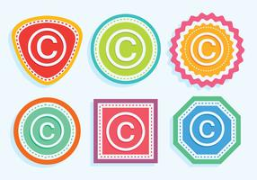 Kleurrijke auteursrechtelijk logo-vectoren