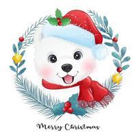 schattige doodle puppy voor Kerstmis met aquarel illustratie