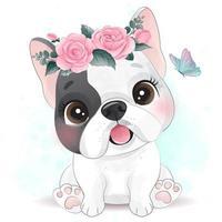 schattige kleine hond met bloemenillustratie