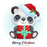 schattige doodle panda voor kerstdag met aquarel illustratie vector