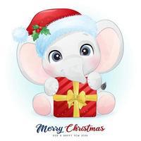 schattige doodle olifant voor kerstdag met aquarel illustratie vector
