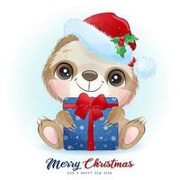 schattige doodle luiaard voor kerstdag met aquarel illustratie vector