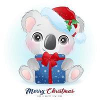 schattige doodle koala voor eerste kerstdag met aquarel illustratie vector