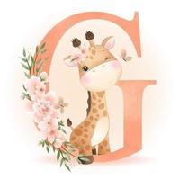 schattige doodle giraf met bloemen illustratie