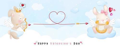 schattig doodle konijn voor Valentijnsdag collectie vector