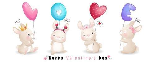 schattig doodle konijn voor Valentijnsdag collectie