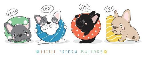 schattige doodle franse bulldog illustratie