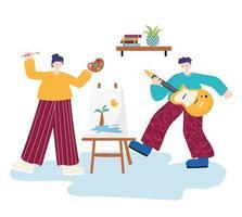 mensen activiteiten, vrouw schilderen en man gitaarspelen
