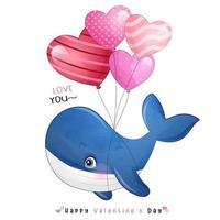 schattige doodle walvis voor Valentijnsdag