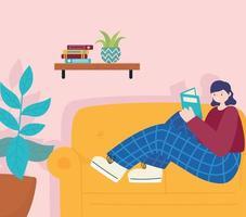 mensen activiteiten, jonge vrouw die een boek leest