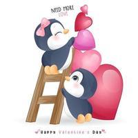 schattige doodle pinguïn voor Valentijnsdag
