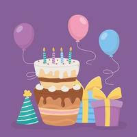 gelukkige verjaardag, cake met kaarsen, geschenken, hoed en ballonnen decoratie feest