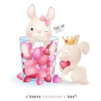 schattig doodle konijntje voor Valentijnsdag
