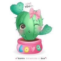 schattige doodle cactus voor Valentijnsdag