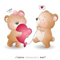 schattige doodle beer voor Valentijnsdag