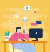 jonge vrouw die op de computer thuis werkt