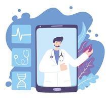 telegeneeskunde concept met arts op de smartphone vector