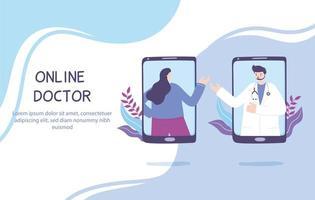 telegeneeskunde concept met arts en patiënt op de smartphone