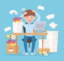 beklemtoonde zakenman, frustratie op kantoorwerk en stress