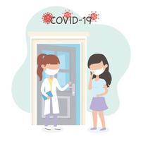 arts en patiënt met gezichtsmaskers voor coronavirus