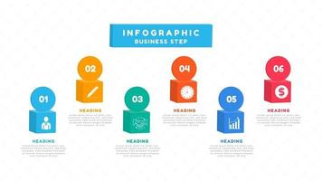 infographic met 3D-vakken met pictogrammen voor bedrijfsplanning