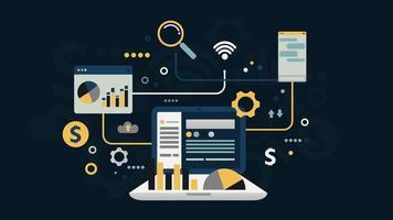 online zakelijk sociaal netwerk financiële analyse en onderzoek plat ontwerp, infographicselementen, vectorillustratie vector